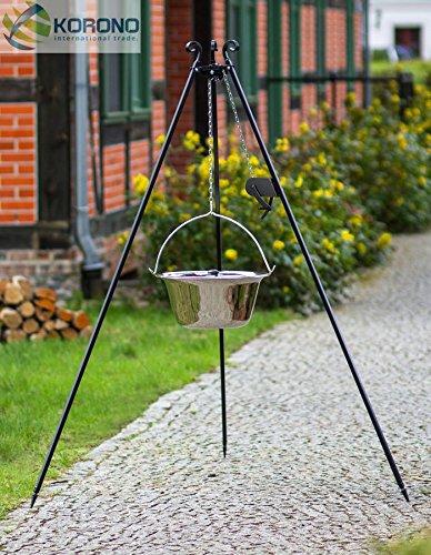 Schwenkgrill - 1,80m mit Kurbel incl. 10l Edelstahl-Gulaschtopf