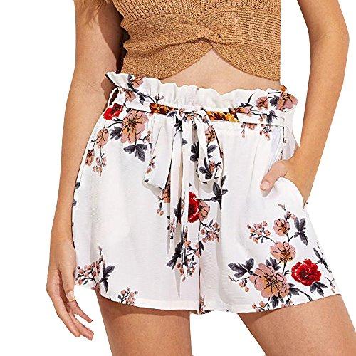 Sunenjoy Shorts Femmes Rayé Short de Jambe Large Pantalon Courte Taille  Haute Été Casual Nouveau Pantalons 397fb35197e