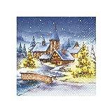 Sigro Großhendel diseño de aldea Navidad servilletas, azul, 33x 33cm