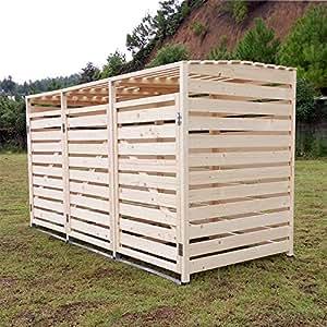 Outdoor Mülltonnenschränke Mülltonnenbox Mülltonnenverkleidung Classic 240 L 3er natur