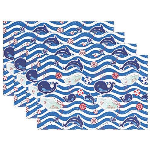 wozo Chevron Wal Delfin Tisch-Sets Tisch Matte, Papier Schiff Love 30,5x 45,7cm Polyester Tischset für Küche Esszimmer, Polyester, mehrfarbig, Package Quantity: 4 (Papier-tischsets Chevron)