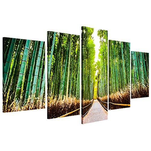 """ge-Bildet® Quadro su tela """"Foresta di bambù a Kyoto - Giappone"""" - 100x50 cm 5 Parti - direttamente dal produttore dalla Germania - Made in Germany"""