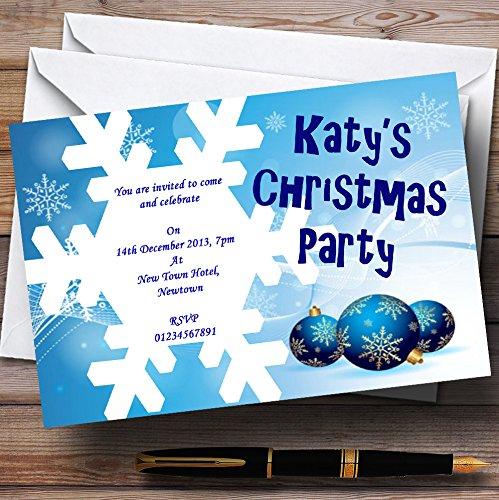 Blu fiocco di neve personalizzati Natale/Capodanno/Holiday party inviti/invita & buste, 60 Invites & Envelopes