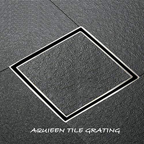 Aquieen Stainless Steel SS 304 Tile Insert Bathroom Floor Water Drain Grating with Anti Foul Cockroach Trap (Floor Jali) 15 x 15 cms