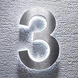 Hausnummer Edelstahl - indirekte LED-Beleuchtung - rostfrei & wetterfest - Spritzwassergeschützt - klassisches Design (3)