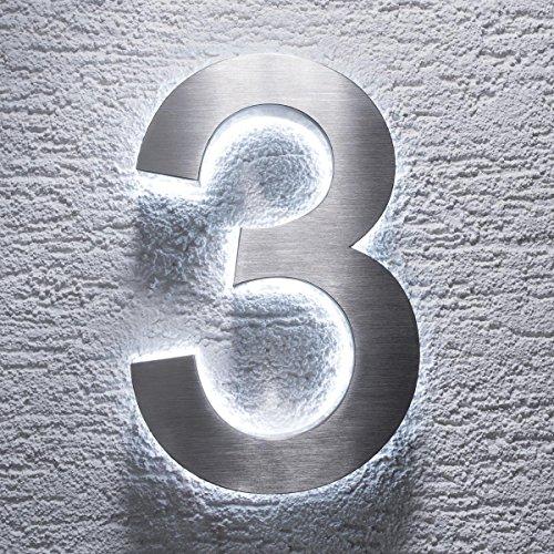Número para casa de acero inoxidable V2A de Metzler-Trade, con iluminación LED 3D indirecta de color blanco, clásico, resistente a las salpicaduras, Plateado 2.00W, 12.00V