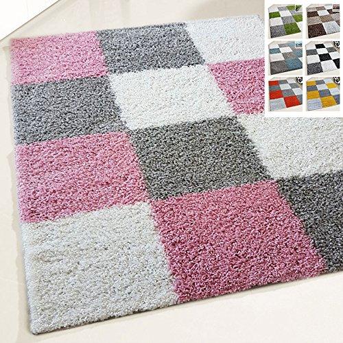 Flauschiger Teppich Langflor Hochflor Shaggy Teppiche Modern Wohnzimmer Flokati Kariert Karo | verschiedene Maße | Kinderzimmer & Jugendzimmer geeignet | Schadstofffrei (Rosa, 200 x 280 cm) -