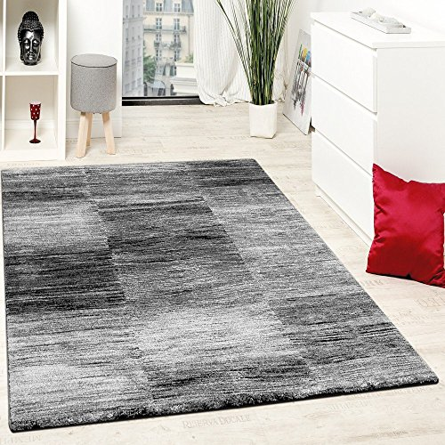 Alfombra De Diseño Moderna Para El Salón Velour Corto A Cuadros En Gris Y Negro, Grösse:200x280 cm
