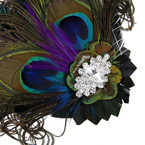 Pinza de Pelo Tiara Pluma Diamantes de Imitación Decoración para Novia Boda Fiesta