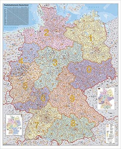 Deutschland Postleitzahlenkarte, Stiefel Wandkarte Kleinformat 67 x 87 cm, Poster, laminiert