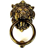 "WIGANO 7""inch Brass Made Lion Face Brass Door Knocker Home Decor"
