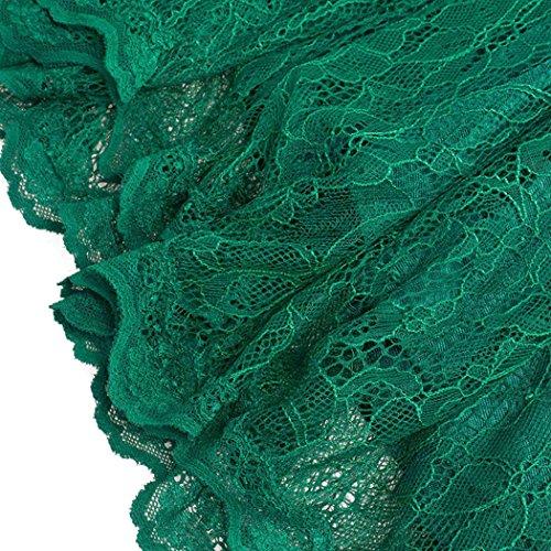 Summer Mae Robe de Soirée Rétro de Dentelles - Manches Courtes - Femme Vert