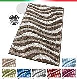 emmevi Tappeto Bagno Morbido Antiscivolo Tessitura 3D Shaggy Moderno Multiuso Scendi Letto MOD.Corfu' 50x110 Rosso (L)