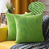 MIULEE 2er Set Granulat Kissenbezug Ananas Weiches Massiv Dekorativen Quadratisch Überwurf Kissenbezüge Kissen für Sofa Schlafzimmer Auto 20'x20', 50 x 50 cm Grün
