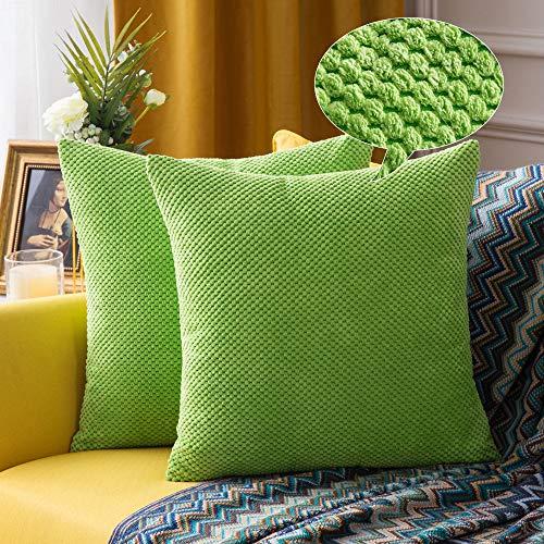 Miulee confezione da 2 federe granulari piccole per cuscini fodere copricuscini decorativi morbidi quadrati per divano letto auto in misto poliestere 40x40 cm verde