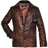Charlie Mens Leather Jacket : Antiqued Vintage Brown Leather Jacket - Casual Brown Leather Jackets for Men - Genuine Jacket