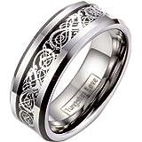 JewelryWe Gioielli Tungsteno Anello Banda Argento Nero, Irish Celtic Knot Drago Epoca Matrimonio, Anello Uomo Donna 8MM Perso
