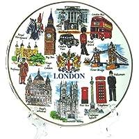 Platos Decorativos de Porcelana Fina con escenas Populares de Londres e Iconos – Recuerdo Coleccionable de Londres, Porcelana, Multi Colour - Coat of Arm, Small - 10 cm