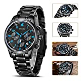 SONGDU Mens Multi-Function Chronograph Quartz Watch With Black Stainless Steel Bracelet DM-9202-P56ELB——Ideal and Celebrative Gift for Christmas and New Year Sales