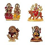 #3: Combo of 4 Gold Plated God Laxmi Ganesh, Maa Durga, OM Sign Ganesha, Maa Kali Idol Car Dashboard Statue Spiritual Puja Vastu Showpiece Figurine - Religious Pooja Gift Item Murti for Mandir Home Décor