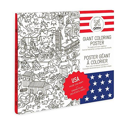 OMY POS16 Usa Poster à Colorier Papier Multicolore 40,4 x 26 x 24 cm