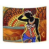 ALAZA Tapisserie Wandbehang Wurf Polyester Inneneinrichtungen, Afrikanischer Wandschmuck