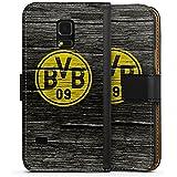 Samsung Galaxy S5 mini Flip Tasche Schutz Hülle Walletcase Bookstyle Borussia Dortmund BVB Holzoptik