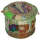Stylo Kultur Baumwolle gestickte Patchwork Ottoman Hocker Pouf Abdeckung Grüner Hocker