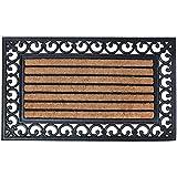Esschert Design Zerbino rettangolare in gomma, a lavorazione artistica, inserto centrale in fibre di cocco, circa 76 cm x 45 cm, colore: Nero/Naturale cocco