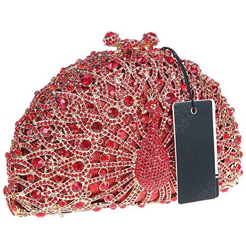 Santimon Donna Pochette Borsa Lusso Diamante Cristallo Pavone Borse Da Festa di Nozze Sera Con Tracolla Amovibile e Pacco Regalo 13 Colori rosso