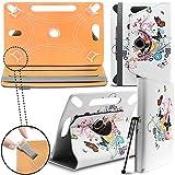 ARCHOS 90b Neon Tablet Neues Design Universelle um 360 Grad drehbare PU-Leder Designer bunte Hülle mit Standfunktion - Cover - Tasche - Schmetterling auf Baum / Butterfly Tree - Von Gadget Giant®