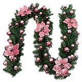 Yubusiness 2.7M Ghirlanda di Pino Verde Artificiale Natale Appeso Ghirlanda Ornamento Glitter con Fiori Finti Palle Alberi di Natale Decorazioni per Matrimoni Festa, Rosa