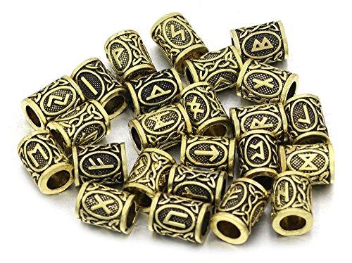 24 Stück 1,3 cm Große Viking Wikinger Rune Mittelalter Haar & Bartperle Bart Schmuck Handarbeit für Armband. Heidnisches Amulett Skandinavisches Odin Symbol Norse. Antik Bronze (Schmuck Antik)