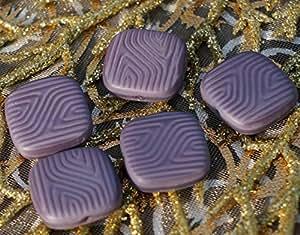 3D Perles Mat Carré Violet Talon Plat Perle en Verre tchèque Perles Violet Plat Carré de Perles de Verre Vague de Perles de 16mm x 16mm 4pc