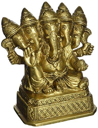 Panchmukhi Ganesha in ottone statua Cinque fronte Indain Dio Murti Idolo indù religiosi 4.5 pollici