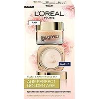L'Oréal Paris Gesichtspflege Set, Age Perfect Golden Age, Anti-Aging Tagespflege und Nachtpflege, Festigung und Glanz…