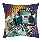 WCMBY Rapper Throw Pillow Cushion Cover, Astronaut with A Retro Boombox Listening Music in Space Comic Strip Audio Print, Decorative Square Accent Pillow Case, 18 X 18 inches, Multicolor