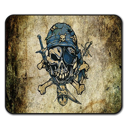 Piraten Viktorianischen (Pirat Skelett Schädel gekreuzte Knochen Nicht Unterhose Maus Polster 24cm x 20cm |)