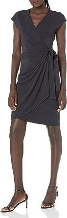 Marchio Amazon - Lark & Ro Classic cap Sleeve Wrap Dress Donna