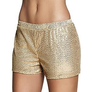 Pantalones cortos con brillantes dorados para mujer, talla única