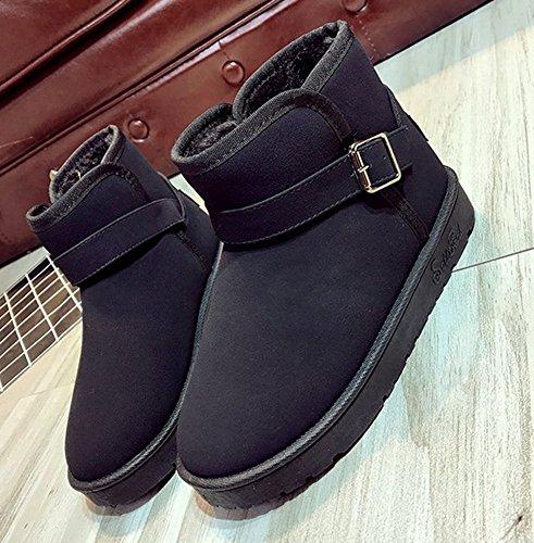 Aisun Femme Original Bout Rond Boucle Boots Bottines Noir