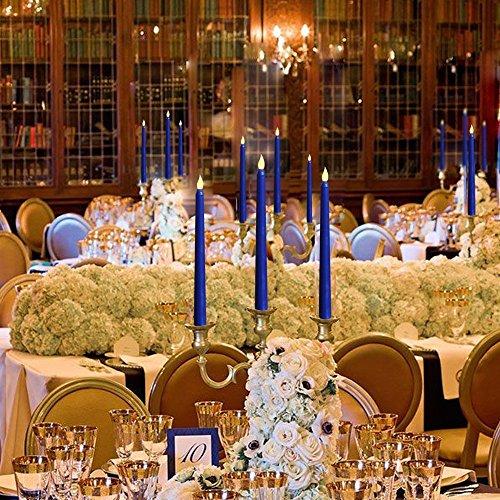 Set de 10remoto azul cera sin llama con pilas Taper velas con 10candelabros
