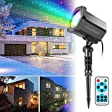 Christmas Lights Projector, FengNiao Outdoor Moving Star Projector Green & Red xmas Landscape Lighting Shower with Remote Control for Holiday, Garden, Party, Home Decoration ( Waterproof)
