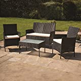 Kingfisher FSR 4 Piece Black Rattan Effect Garden Patio Furniture Set (Brown)