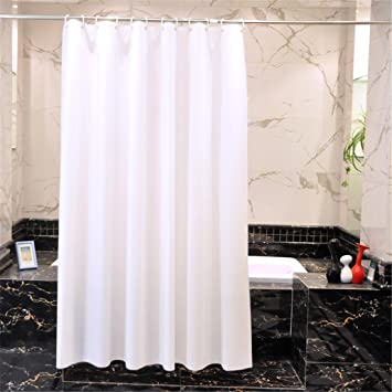 PVC Plastic Pure White Shower Curtain Extra Long Opaque Mildew Resistant Waterproof Bathroom No Transparent With Enough Rings Hooks 180 X 220 Cm