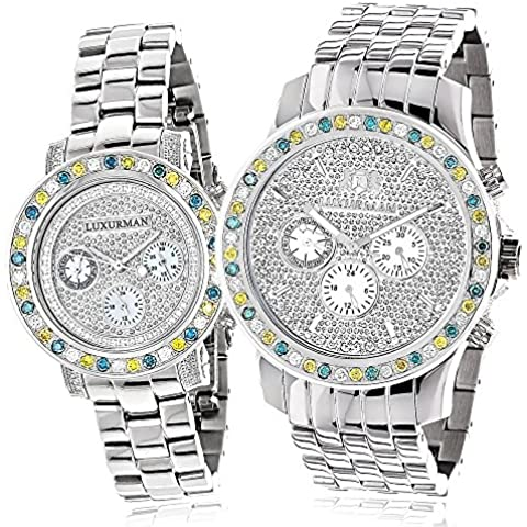 Matching His and Hers Watches: Luxurman White Blue Yellow Diamond Watch Set Gold Plated w Steel Bands 5.25CT