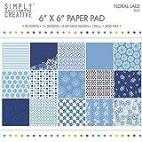 Simplement Creative FSC papier Pad 6x 6en dentelle Motif floral Bleu Multicolore