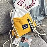ASD Cordon de Poche Cordon de Sac à Dos Hommes et Femmes Cartables Sport léger Sac à Dos Simple Tutoriel Pack supplémentaire EE Kaki Upgrade Jaune...