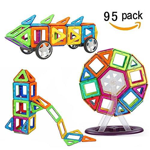 Crenova Magnetische Bausteine Regenbogen Set 95 Teile Inspirierender Standard Bausatz-Kreative und Pädagogische Spielzeuge-Riesenrad & Aufbewahrungstasche Test