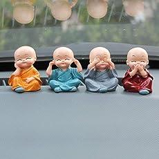 Fansport 4PCS Little Monk Cute Ornaments Car Interior Decoration Desk Decor